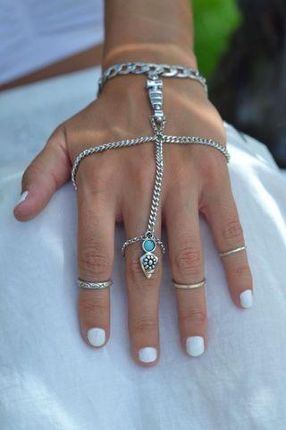 พร้อมส่ง สร้อยข้อมือพร้อมแหวน สไตล์โบฮิเมี่ยน