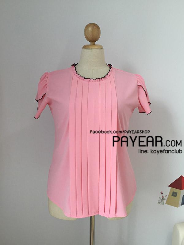 เสื้อ ผ้าไหมอิตาลี คอระบาย ตีเกล็ด สีชมพู ไซส์ XL อก 44 นิ้ว