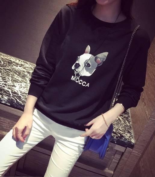 เสื้อแฟชั่น แขนยาว บุกันหนาว เจ้าหมาน้อย Mocca สีดำ