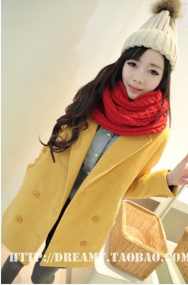 เสื้อโค้ท แขนยาว ผ้าสำลี สีเหลือง