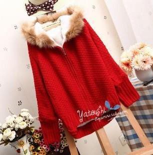 เสื้อแจคเกตไหมพรมแต่งฮู้ดเฟอร์สีน้ำตาล บุขนหนา สุดน่ารัก สไตล์เกาหลี มีหลายสี
