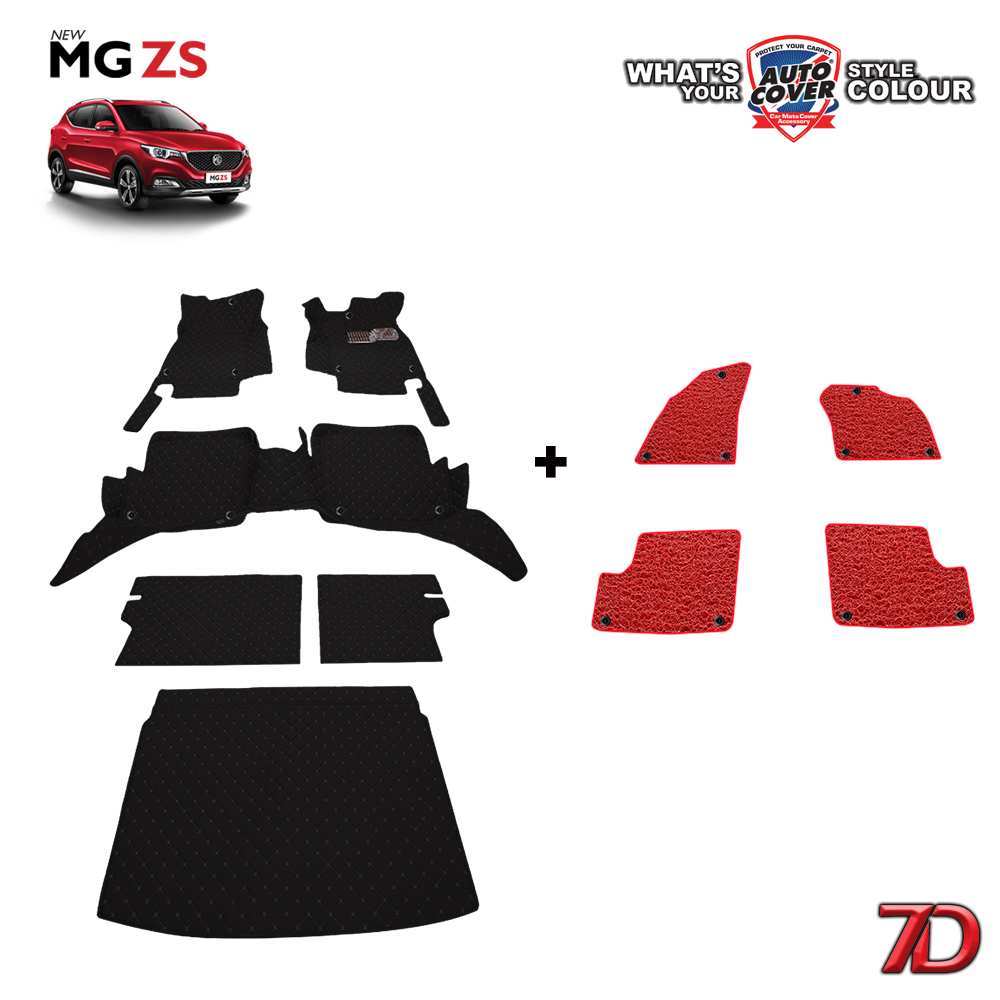 พรมรถยนต์ 7D Anti Dust รถรุ่น MG ZS ชุดเต็มคัน จำนวน 6+4 ชิ้น รวมแผ่นท้ายและหลังพนักพิง