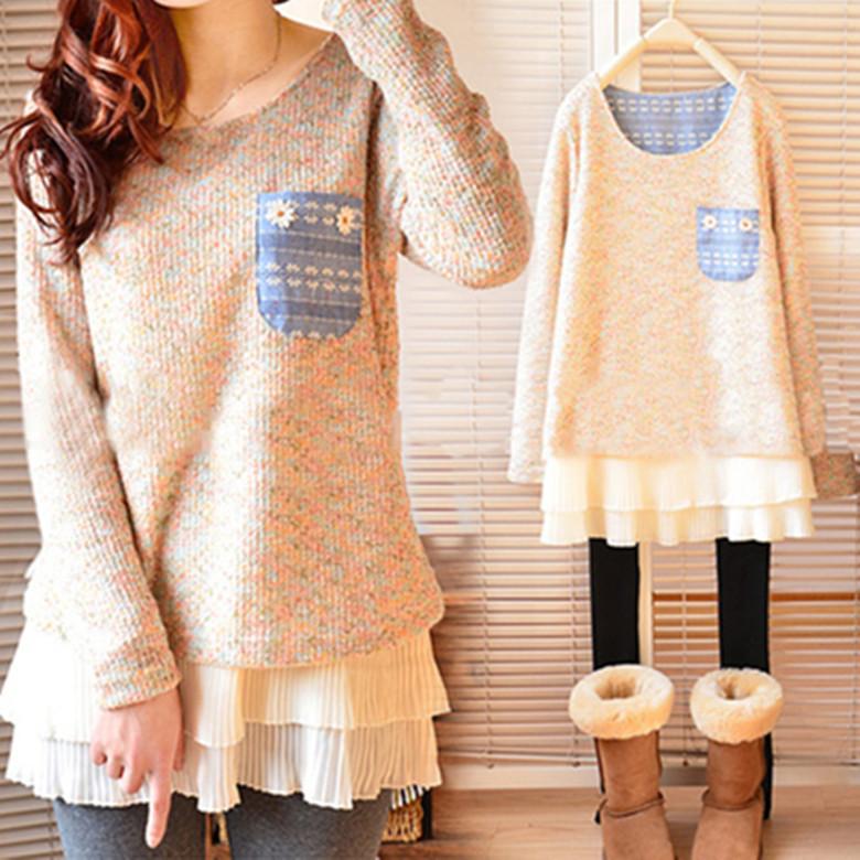 Pre-เสื้อกันหนาวไหมพรมน่ารักสไตล์เกาหลี มีไซด์ใหญ่ M-XXXL