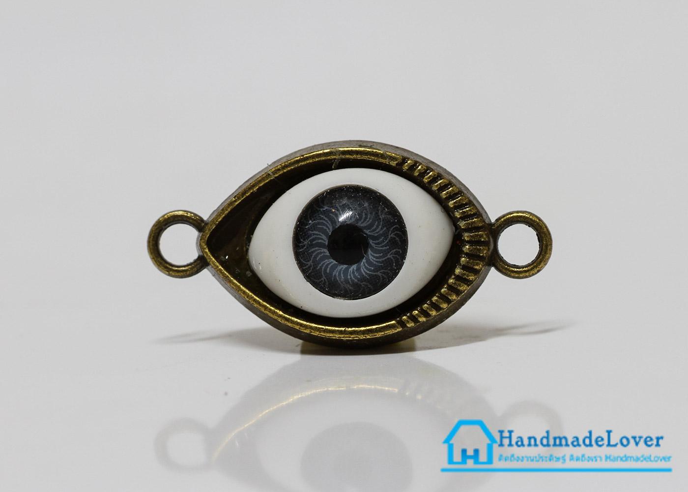 จี้โลหะ สีทองรมดำ รูปตา สีเทา (evil eye) [ใหม่]