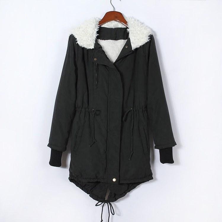 พร้อมส่ง-เสื้อโค้ทกันหนาวมีฮู้ดบุด้านในหนา สีดำ Size M