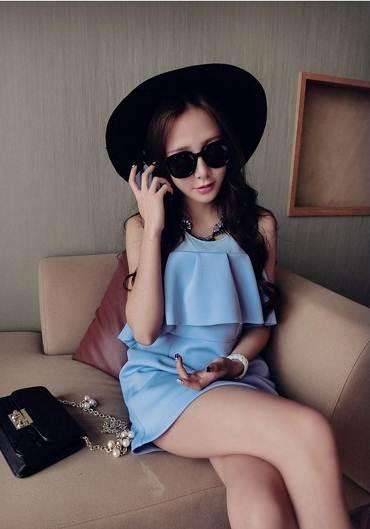 (SALE) เสื้อแฟชั่น สีน้ำเงิน แบบตามภาพ
