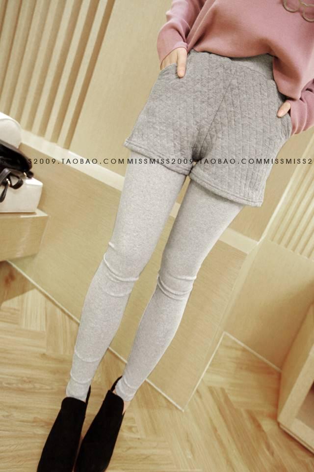 กางเกงเลกกิ้ง ขายาว แต่งกางเกงด้านนอก สีเทา