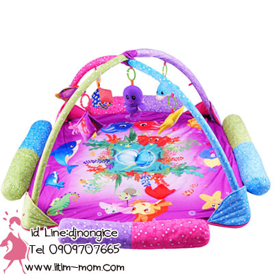ที่นอนเด็กพร้อมโมบาย มีเสียงดนตรี ที่นอนหนานุ่ม ลายปลาในท้องทะเลสีตามรูปนะค่ะ