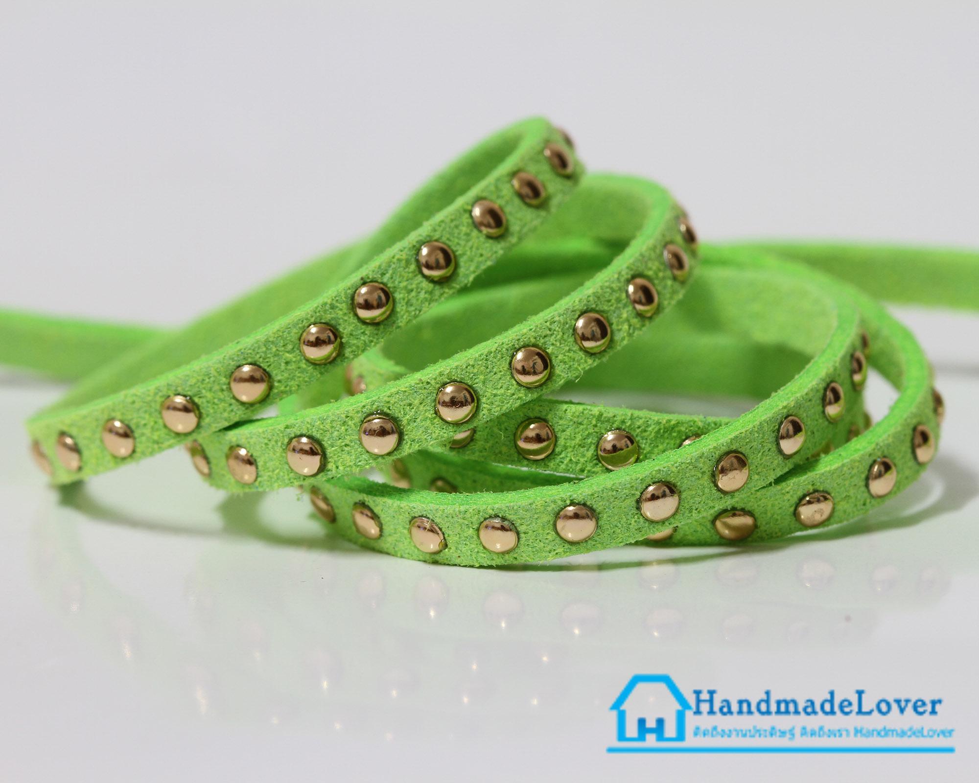 เชือกหนังชามุด สีเขียวใบตองอ่อน ขนาด 5 mm.