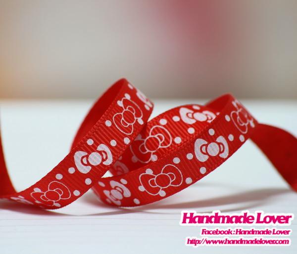 ริบบิ้นผ้า กรอสเกรน สีแดง พิมพ์ลายโบว์