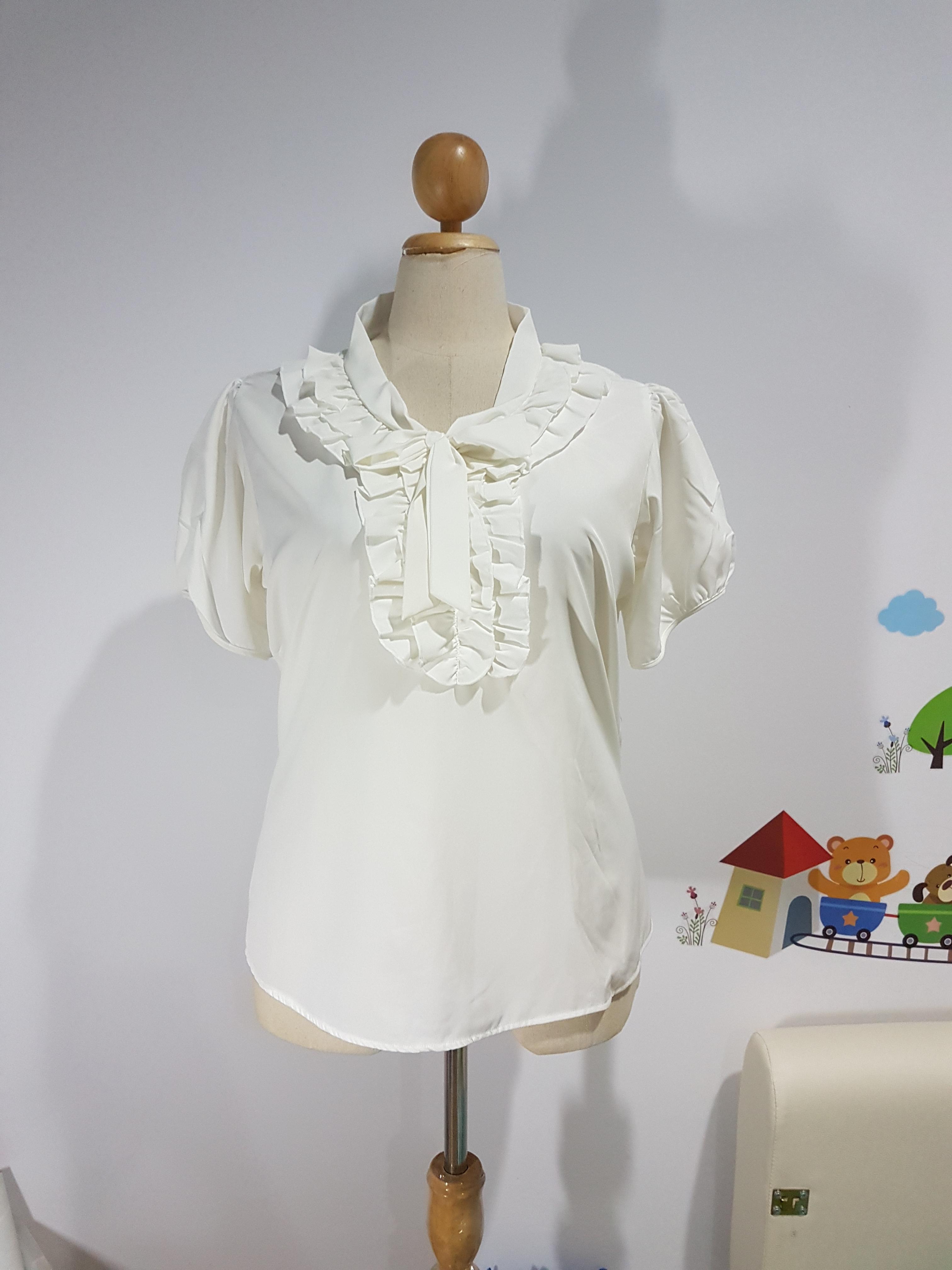 เสื้อ ผ้าไหมอิตาลี คอแหลม ผูกโบว์ สีขาว ไซส์ XXL อก 50 นิ้ว