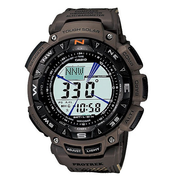 นาฬิกา คาสิโอ Casio PRO TREK DUAL-LAYER LCD Limited รุ่น PRG-240R-5 (สายผ้าลายพรางทหาร)