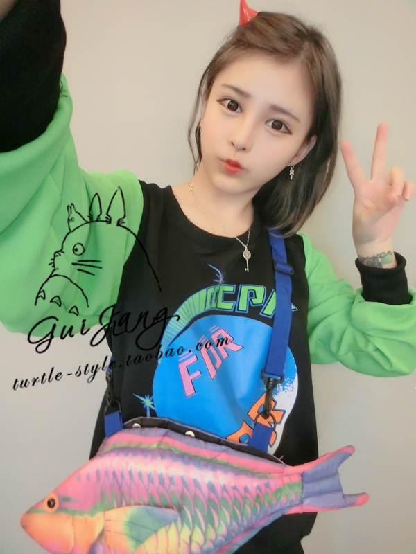 (SALE) เสื้อแฟชั่นฮาราจูกุ แขนยาว ลายดาวเคราห์ สีเขียว