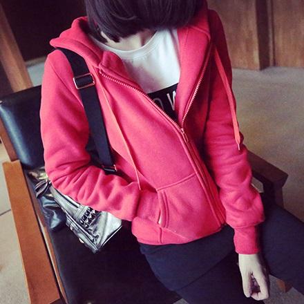 เสื้อกันหนาวแฟชั่น มีฮูด แขนยาว ซิปหน้า สีแดง