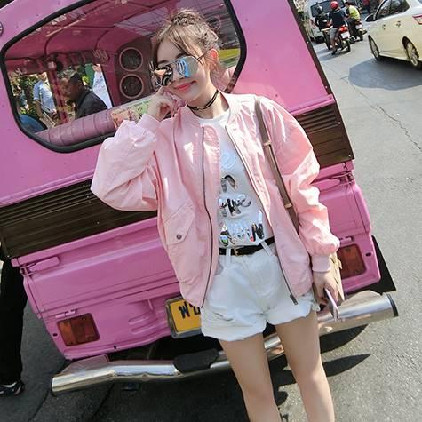(ภาพจริง)เสื้อคลุมแฟชั่น แขนยาว ซิปหน้า สีพื้น สีชมพู