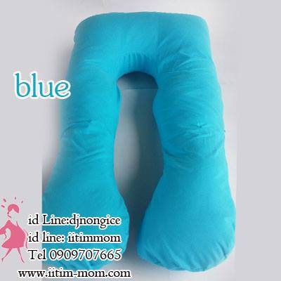หมอนตัวยูลาย สีฟ้า ผ้าไมโครไฟเบอร์ ด้านในผลิตจากใยคุณภาพดี