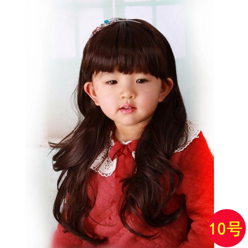 วิคผมเด็ก-ผมม้า+ผมยาวลอนคลาย ๆ สไตล์เกาหลี (สีน้ำตาล)