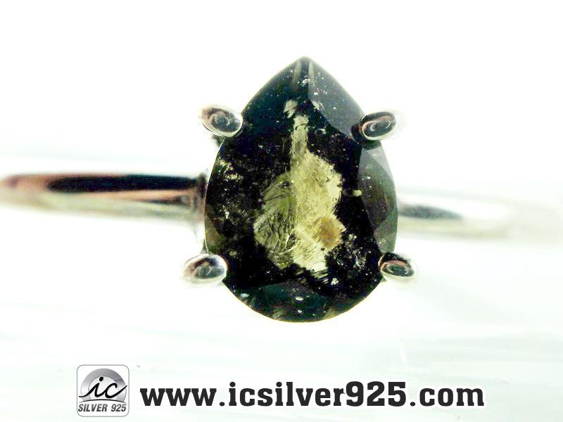 ▽สะเก็ดดาวโมดาไวท์ MOLDAVITE -แหวนเงินแท้ 925 (ขนาดแหวนเบอร์ : 61)
