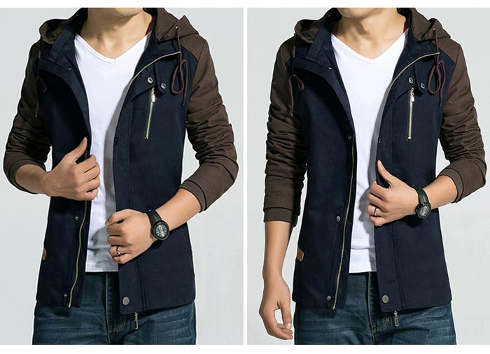 เสื้อแจ็คเก็ตผู้ชาย มีฮู้ดถอดได้ เสื้อกันหนาวผู้ชาย เท่ๆ สีกรมท่า ตัดสีน้ำตาล
