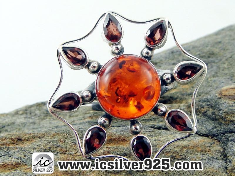 ▽อำพัน Amber - โกเมน Garnet - แหวนเงินแท้ 925 (ขนาดแหวนเบอร์ : 58 , 6.1g)