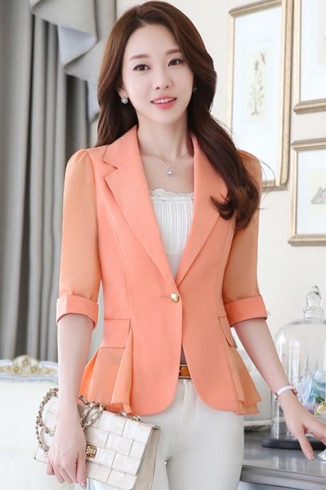 (สินค้าหมด) เสื้อสูทแฟชั่น เสื้อสูทผู้หญิง สีส้ม แขนพับสามส่วน แต่งระบายด้านหลังด้วยผ้าชีฟอง