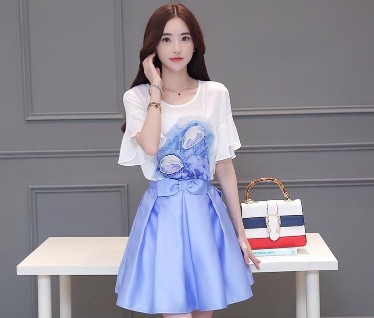 ชุด SET แฟชั่นเกาหลีน่ารัก เสื้อสีขาว + กระโปรงสั้นสีฟ้า