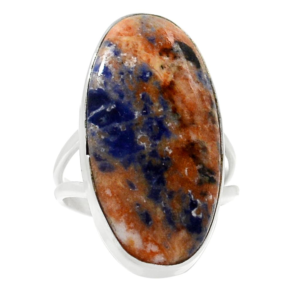 โซดาไลท์ Orange Sodalite แหวนเงินแท้ 925 (แหวนเบอร์ : 53 , 5.1g )