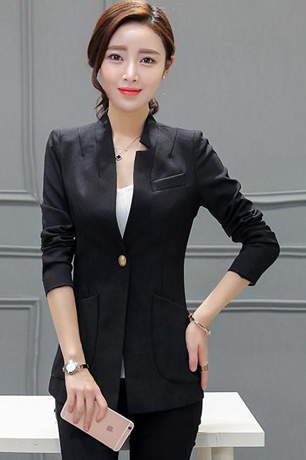 เสื้อสูทแฟชั่น เสื้อสูทผู้หญิง สีดำ แขนยาว ตัวยาวคลุมสะโพก