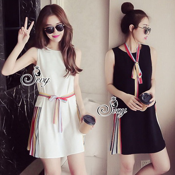 Lady Ribbon ออนไลน์ เสื้อผ้าออนไลน์ พร้อมส่งของแท้ SV04130716 &#x1F389Sevy Sleeveless Color Pleat Side Stripes Mini Dress