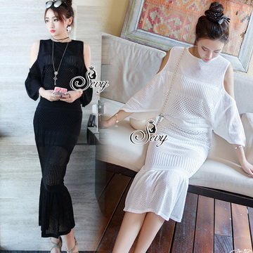 Lady Ribbon ออนไลน์ เสื้อผ้าออนไลน์ พร้อมส่งของแท้ SV03130716 &#x1F389Sevy Two Pieces Of Hollow Knit Blouse With Skirt Sets