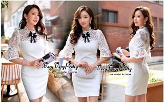 Lady Ribbon Online เสื้อผ้าออนไลน์ขายส่ง very very pretty เสื้อผ้า VP05140816 Princess White Lace and Cotton Dress