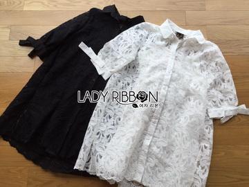 Lady Ribbon Online ขายส่งเสื้อผ้าออนไลน์ เลดี้ริบบอน LR08280716 &#x1F380 Lady Ribbon's Made &#x1F380 Lady Monica Sweet Minimal White Lace Shirt Dress เชิ้ตเดรสผ้าลูกไม้