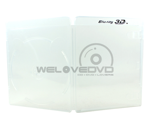 Single Clear Blu-Ray Cases with Blu-ray 3D Logo (10 pcs)