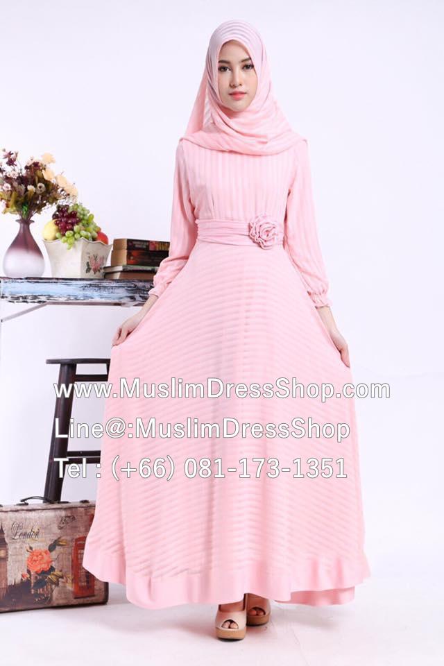 islamic clothing, muslim clothing, modest dresses, muslim clothes, clothes muslim, clothes muslim, , modest clothing, modest cloth ชุดเดรสมุสลิมแฟชั่นพร้อมผ้าพัน ชุดเดรสชีฟองพิมพ์ลายประดับดอกไม้ ID : ChffRse02es