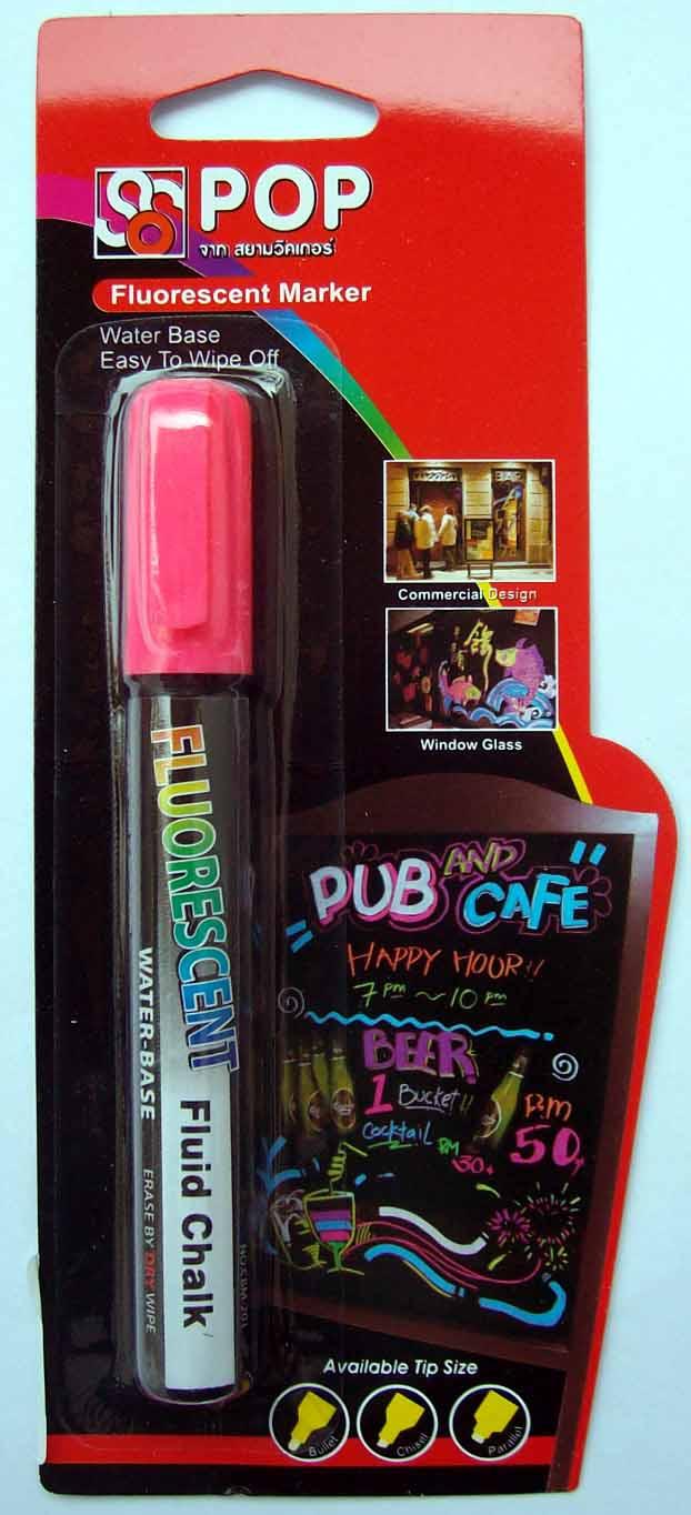 ปากกาชอล์ค เรืองแสง ขนาด 4.5 มม. สีชมพู