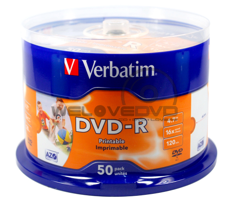 Verbatim DVD-R 16X Printable 43533 Made in Taiwan (50 pcs/Cake Box)