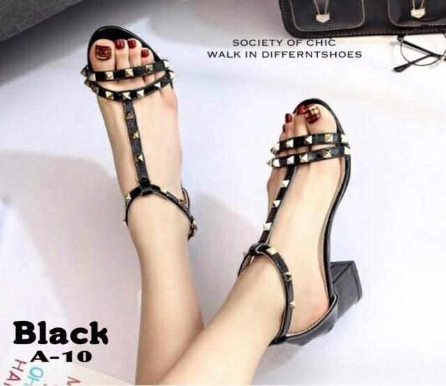 รองเท้าส้นตันรัดข้อสีดำ T-Strap สไตล์ VALENTINO (สีดำ )