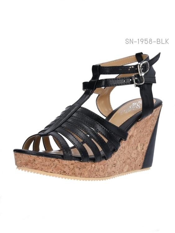 รองเท้าส้นเตารีดรัดส้น สไตล์โรมัน (สีดำ )