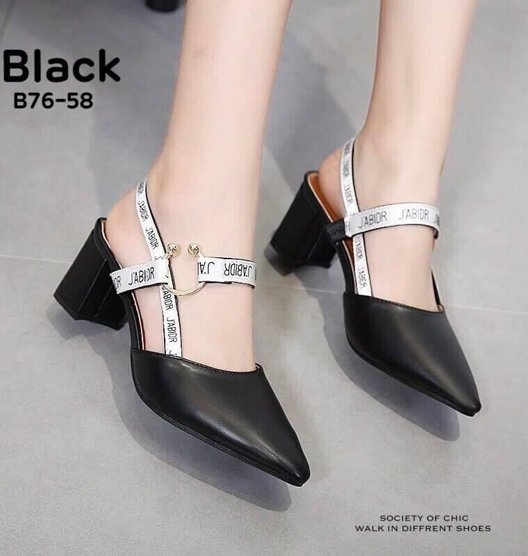 รองเท้าส้นตันรัดส้นสีดำ New Collection Christian Dior 2017 (สีดำ )