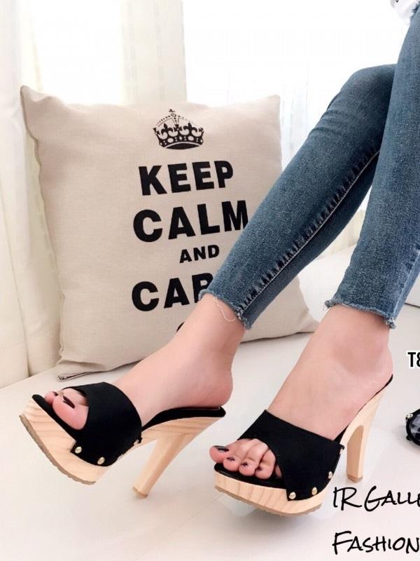 รองเท้าส้นสูง เปิดส้น หนังกลับ สไตล์คลาสสิค (สีดำ )