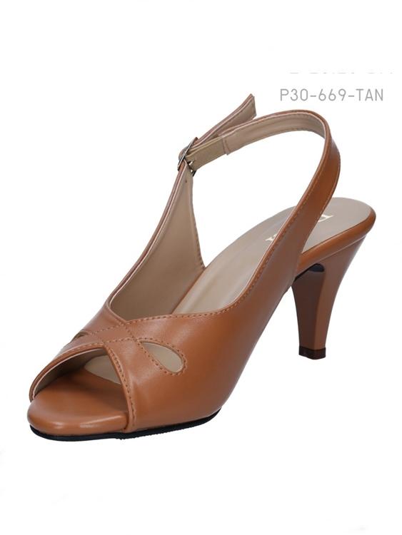 รองเท้าส้นสูง หัวแหลม (สีแทน)