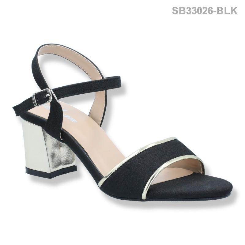 ลดล้างสต๊อก รองเท้าส้นสูงแฟชั่น SB33026-BLK [สีดำ]