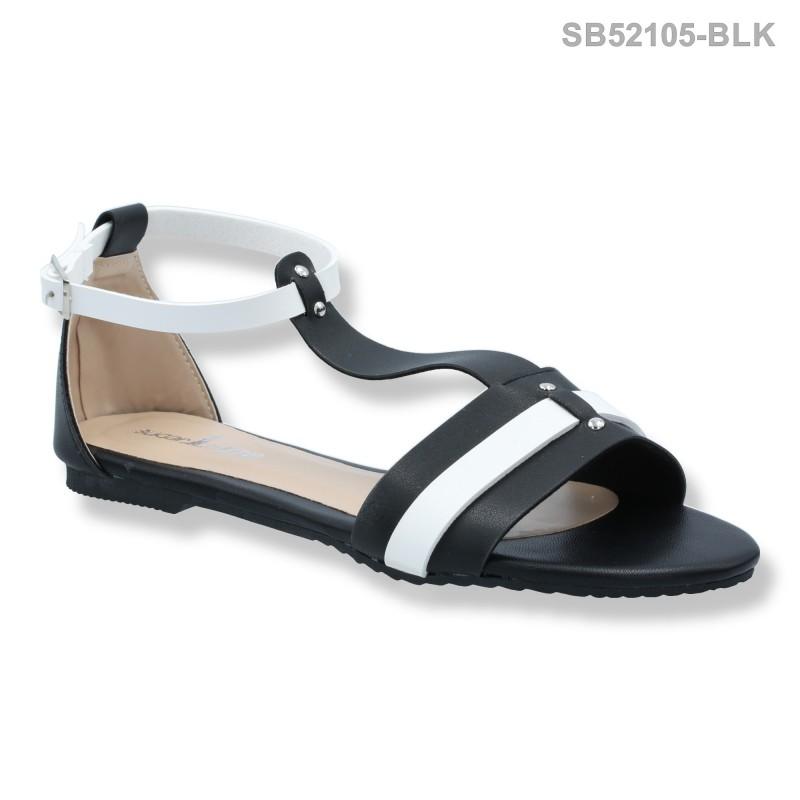 ลดล้างสต๊อก รองเท้าส้นเตี้ย SB52105-BLK [สีดำ]