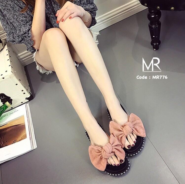 รองเท้าแตะเพื่อสุขภาพสีชมพู เปิดส้น แต่งโบว์ใหญ่ (สีชมพู )