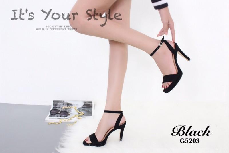 รองเท้าส้นเข็มรัดข้อสีดำ กำมะหยี่นิ่ม สไตล์เซ็กซี่ (สีดำ )