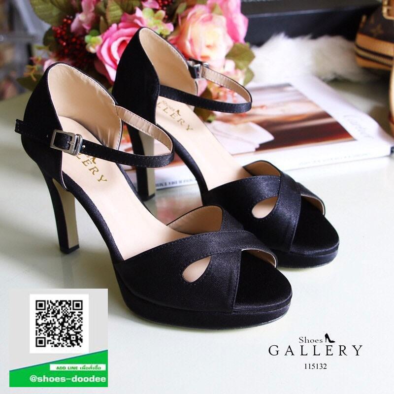 รองเท้าส้นสูงรัดส้น ผ้าซาติน เปิดหน้าเท้า (สีดำ )