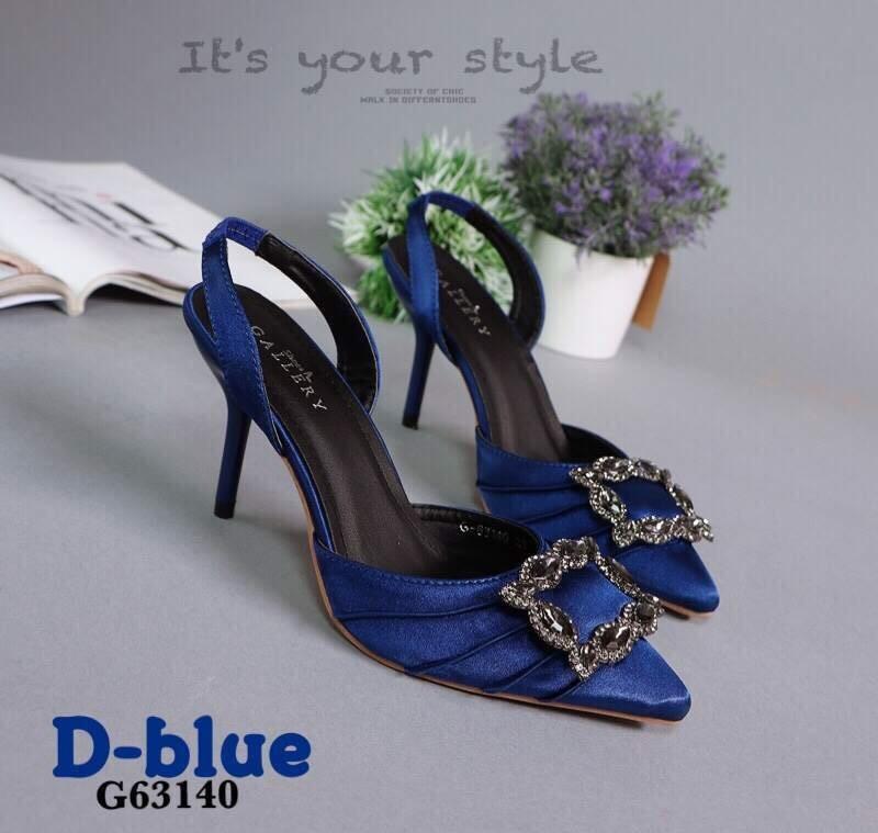 รองเท้าส้นเข็มรัดส้นสีน้ำเงิน หัวแหลม สไตล์Manolo Blahnik (สีน้ำเงิน )