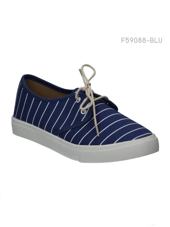 รองเท้าผ้าใบผู้หญิง แบบเชือกผูก (สีน้ำเงิน )