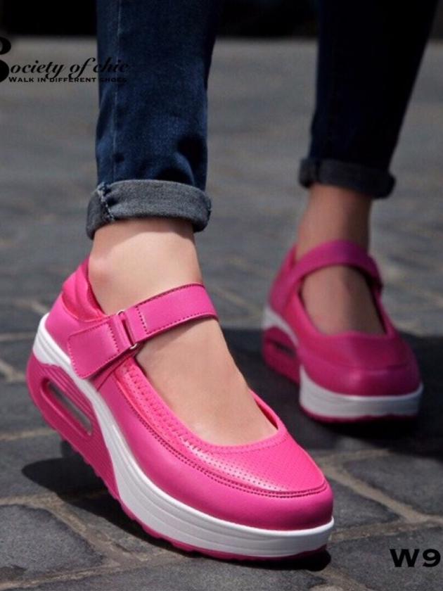 รองเท้าผ้าใบเสริมส้น สไตล์สปอร์ต (สีชมพู )