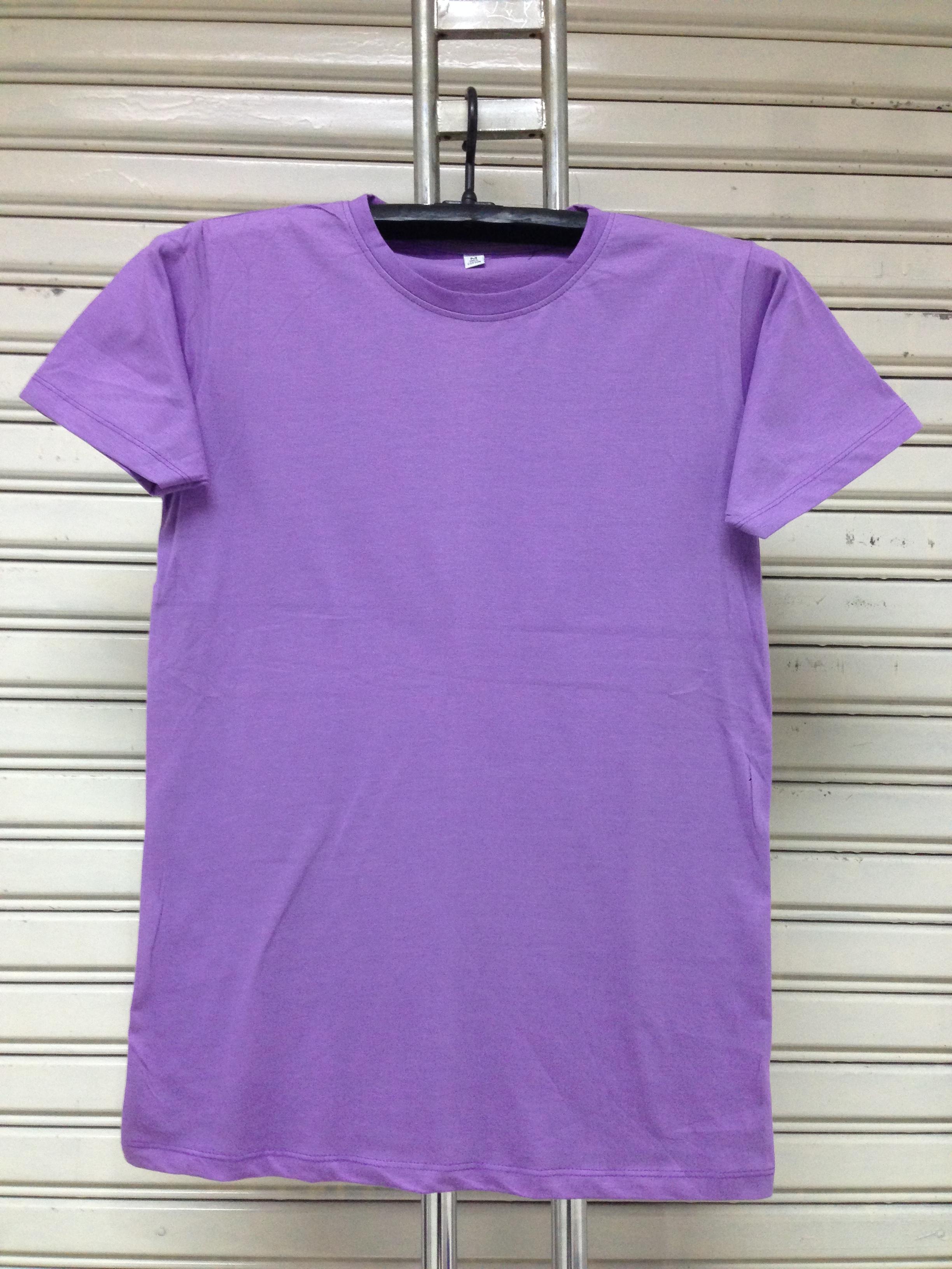 COTTON100% เบอร์32 เสื้อยืดแขนสั้น คอกลม สีม่วงอ่อน